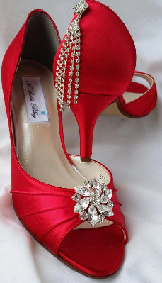 Red Bridal Heels with Crystals