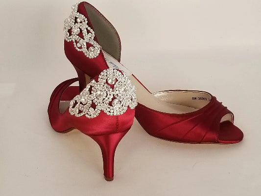 Deep Red Wedding Shoes with Crystal Back and Sides