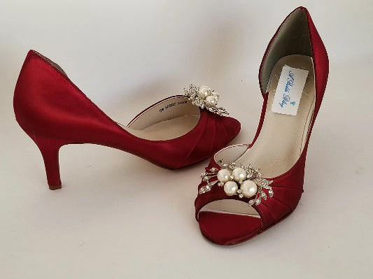 Red Bridal Shoes with Crystal Pearl Design