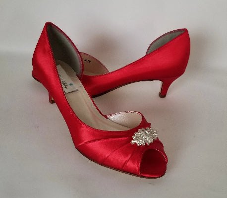 Red Bridal Shoes wth Crystals