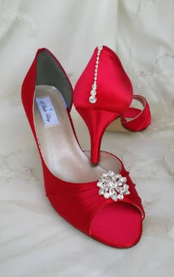 Red Bridal Shoes with Crystal Front and Teardrop Crytal Back