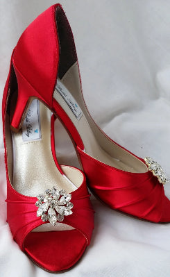 Red Bridal Shoes with Crystals