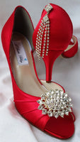 Red Bridal Shoes with Crystal Brooch