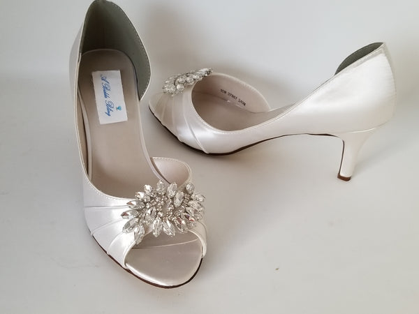 Ivory Bridal Shoes with Large Crystal Design