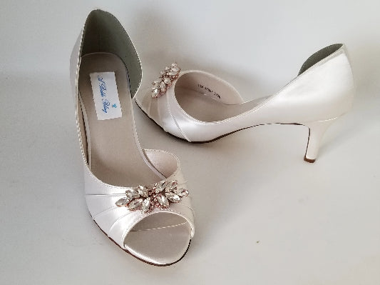 ivory wedding shoes with rose gold applique