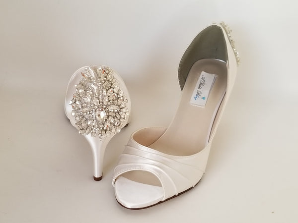 Ivory Wedding Shoes with Sparkling Crystal Back Design