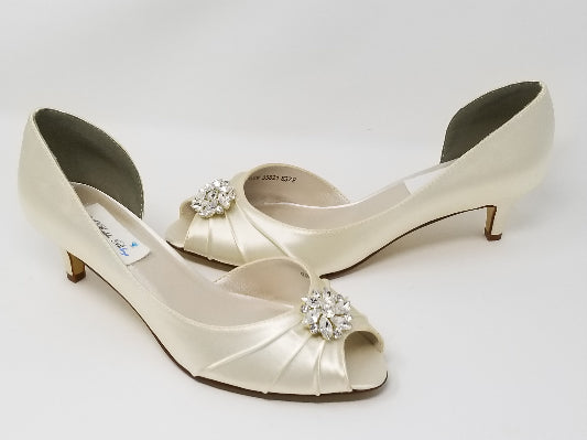 Ivory Wedding Shoes Crystal Swirl Design