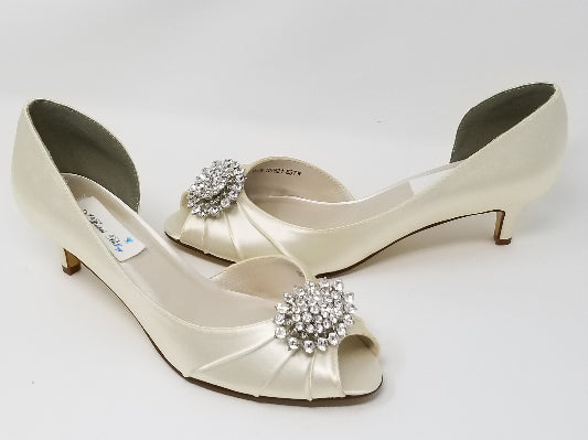 Ivory Bridal shoes Crystal Oval Design