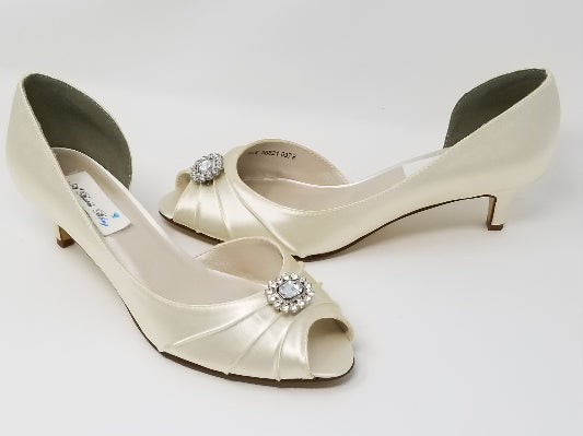 Ivory Bridal Shoes Square Crystal Design