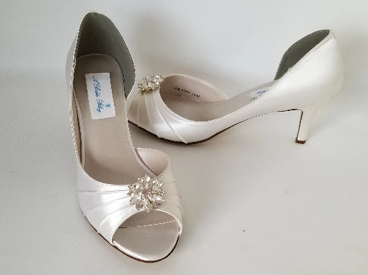 ivory wedding shoes with crystal flower design