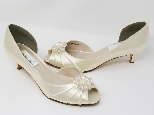 Ivory Wedding Shoes with Pearl and Crystal Flower Design