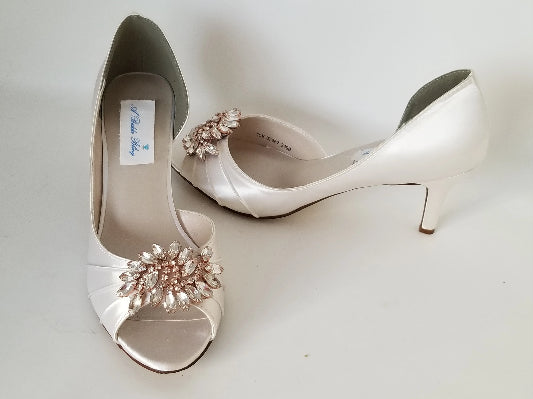 ivory wedding shoes with rose gold design