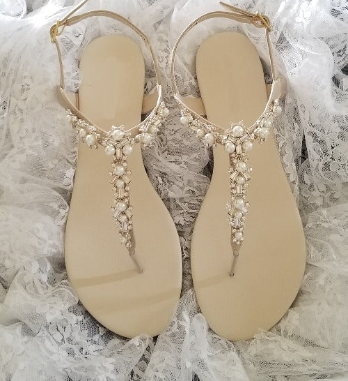 ivory bridal sandals with pearls