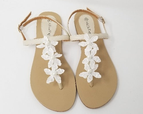 ivory bridal sandals with flowers