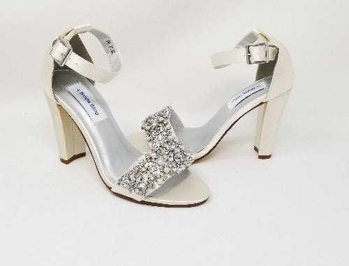 ivory bridal shoes block heel