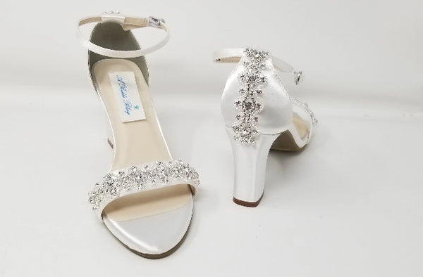 White Wedding Shoes with Block Heel and