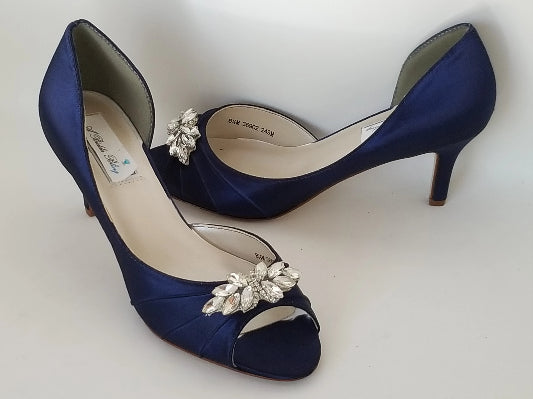 navy wedding shoes crystal applique