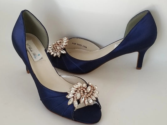 navy wedding shoes rose gold accent