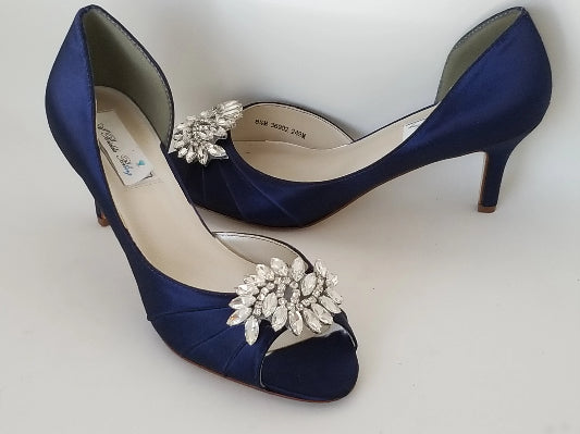 navy blue wedding shoes with bling