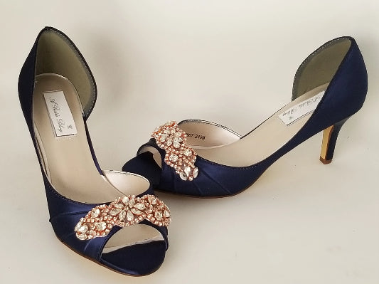 Navy Blue Bridal Shoes with Rose Gold