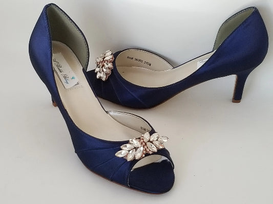 navy bridal shoes with rose gold design