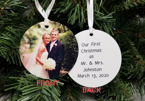 First Christmas as Mr. and Mrs. Photo Ornament
