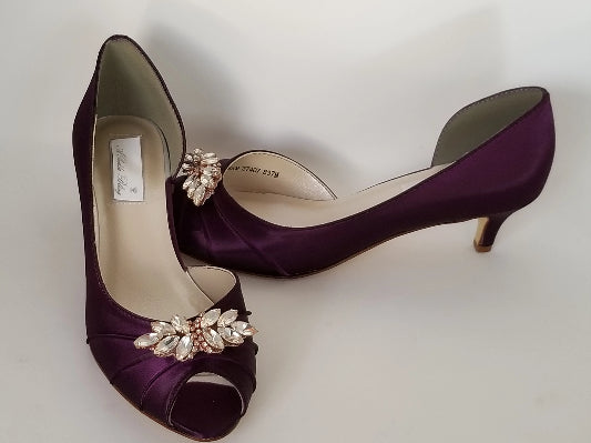 purple bridal shoes with rose gold design
