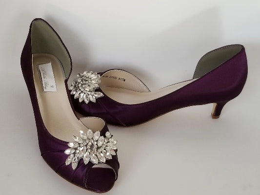 eggplant purple wedding shoes with crystal applique