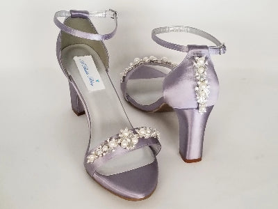 purple block heel wedding shoes
