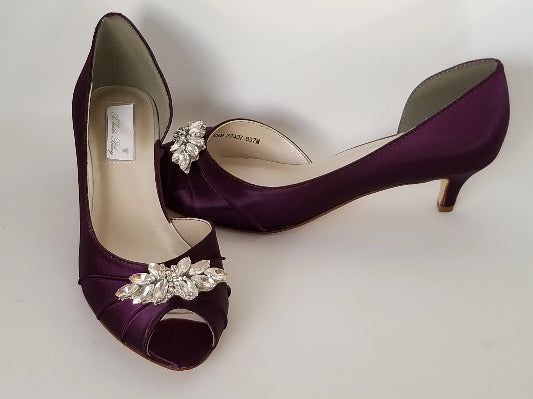 purple bridal shoes with crystal applique