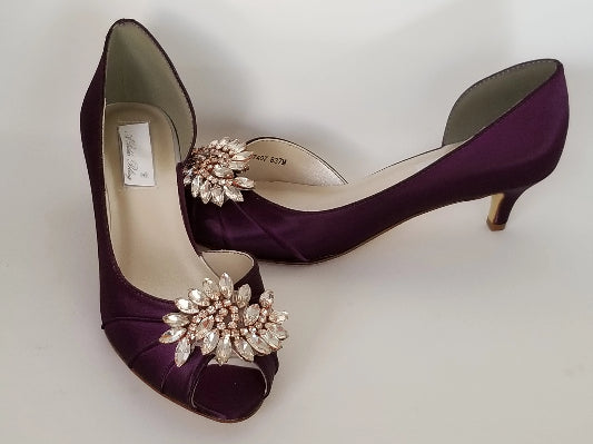eggplant purple bridal shoe with rose gold applique