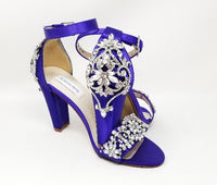 purple bridal shoes with bock heel