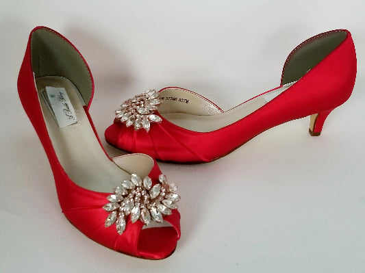 Red Wedding Shoes with Rose Gold Applique