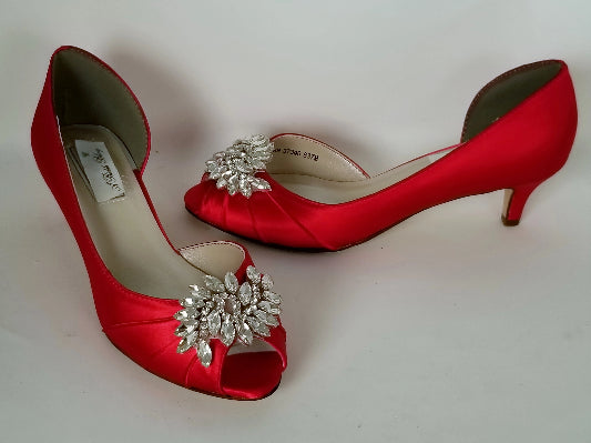 Red Wedding Shoes with Crystal Applique