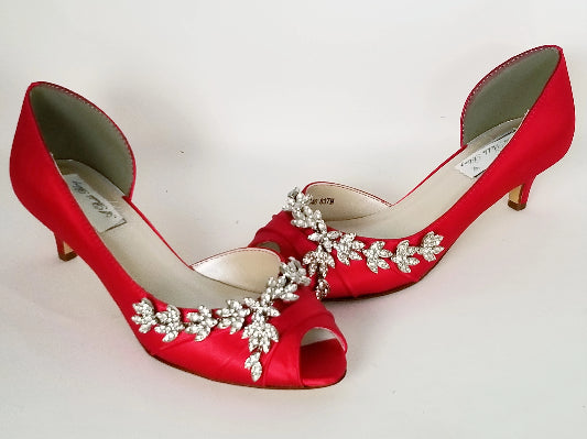 Red Wedding Shoes with Crystal Vine Design