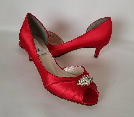 Red Wedding Shoes with Crystal Design