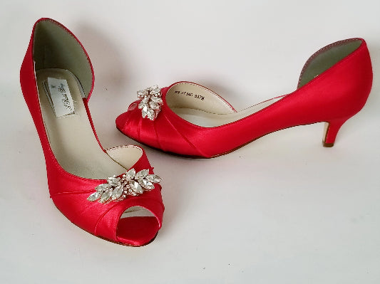 Red Wedding Shoes with Rose Gold Details