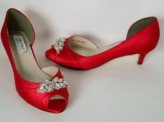 red wedding shoes with crystal detials