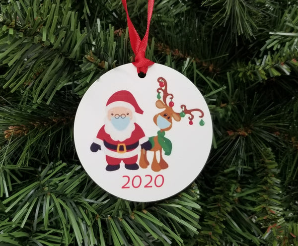 santa and reindeer covid ornament 2020