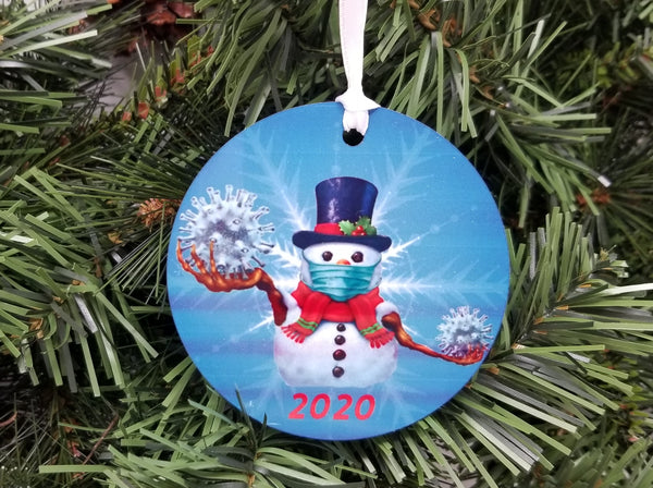 snowman wearing a mask ornament covid ornament