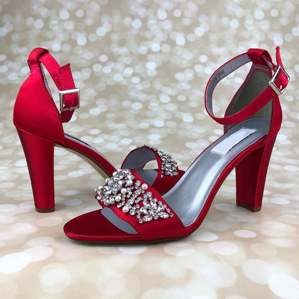 red wedding shoes block heel