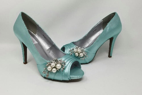 tiffany blue bridal shoes with pearls and crystals