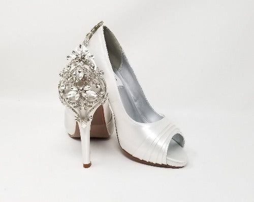 white bridal shoes with crystal heel