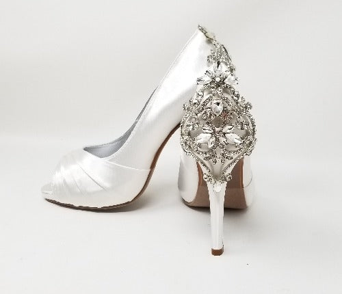 white wedding shoes with crystal heel