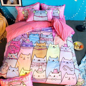 Children Cartoon Cats Bedding Set - Perfect for Christmas