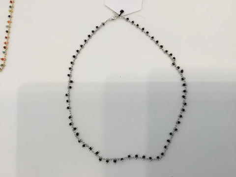 Black confetti necklace - silver