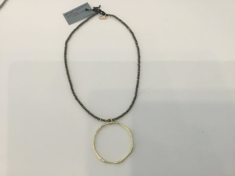 Short bamboo pyrite necklace