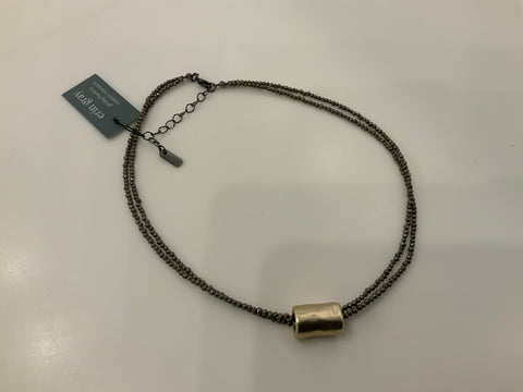Barrel on double Pyrite necklace