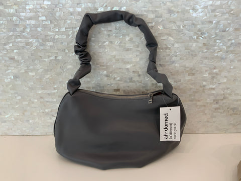 Gray ruched strap shoulder bag