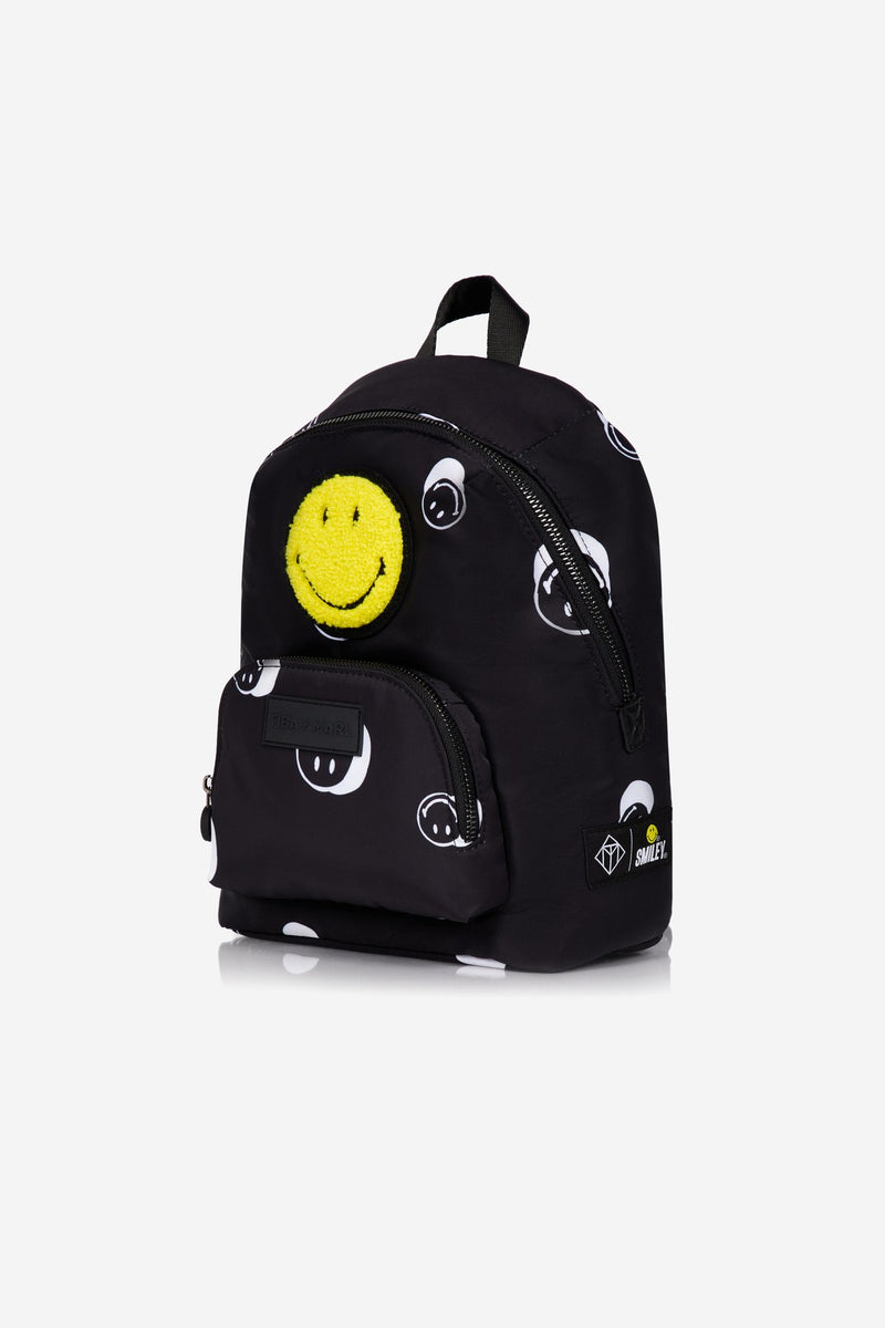 T+M x Smiley® Mini Elwood Kids Backpack Black Smiley® Print